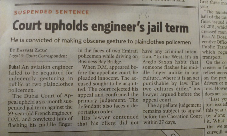 Jailed for flashing middle finger