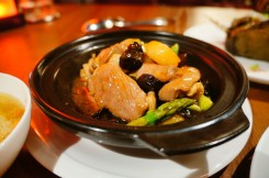 Stewed duck breast with water chestnut in claypot