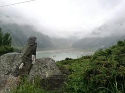 Big Almaty Lake on a foggy day