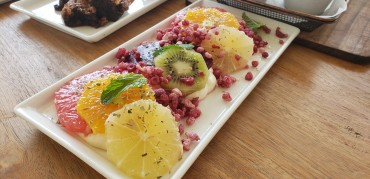 One of the two fruit platters